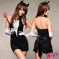 Sexy Cynthia黑色貼身三件式惡魔角色扮演服