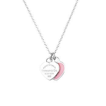 TiffanyCo.mini 草莓色雙色雙愛心純銀項鍊