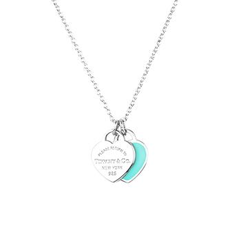 TiffanyCo.mini 藍綠色雙色雙愛心純銀項鍊