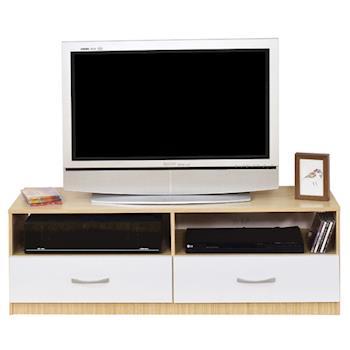 【Hopma】白橡配白現代二抽電視櫃