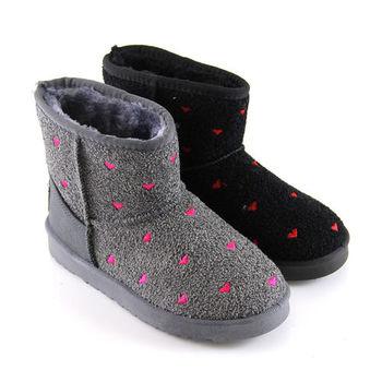 【Pretty】愛心點點絨毛呢防寒內刷毛保暖防滑雪靴-黑色、灰色