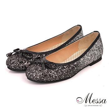 【Messa米莎】(MIT)童話風晶亮閃鑽蝴蝶結內真皮平底娃娃鞋-黑色