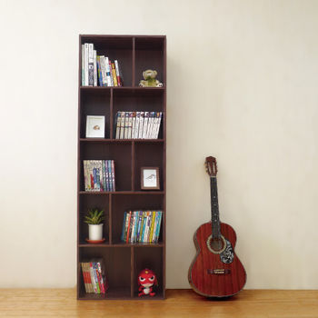 【Hopma】胡桃木色多功能五層書櫃
