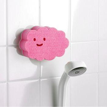 【特惠組】日本製造AISEN黏貼式大片雲朵浴室海綿刷2入裝