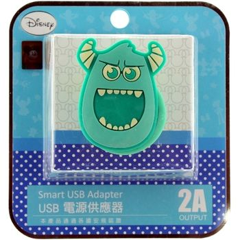【Disney】立體造型2A充電轉接插頭 USB轉接頭-毛怪