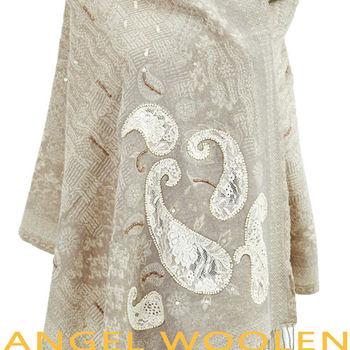 【ANGEL WOOLEN】幻化蛻變印度精緻手工羊毛披肩(駝色)