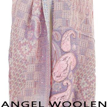 【ANGEL WOOLEN】幻化蛻變印度精緻手工羊毛披肩(粉紫色)