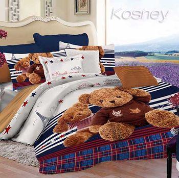 【KOSNEY】 藍熊天堂  頂級超柔絲棉絨雙人兩用被床包組