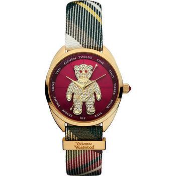Vivienne Westwood Crazy Bear 狂歡泰迪蘇格蘭紋皮革晶鑽腕錶 紅色 金色 38mm / VV103RDBR