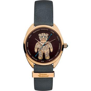 Vivienne Westwood Crazy Bear 狂歡泰迪皮革晶鑽腕錶 棕色 玫瑰金色 灰色 38mm / VV103BRGY