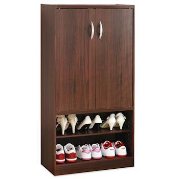 【Hopma】胡桃木色雙門六格鞋櫃