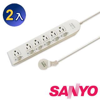 【三洋】SYPW-366A 3孔6座6切6尺平貼式安全延長線(2入優惠組)