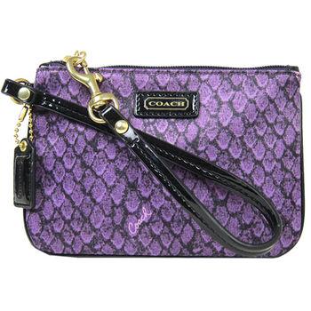 COACH 蛇紋緞布手拿包(紫)-F50146