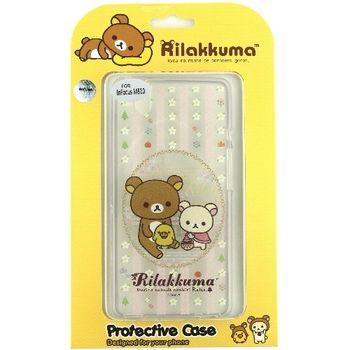 Rilakkuma 拉拉熊/懶懶熊 InFocus M810 彩繪透明保護軟套-花草優雅熊