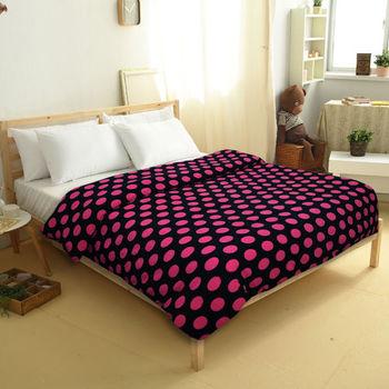 【FOCA】蜜雪絨保暖多用途雙人被套毯/披毯/蓋毯(圓點風格-黑)