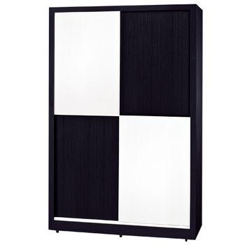 【時尚屋】[G15]黑白配4尺推門衣櫃036-2