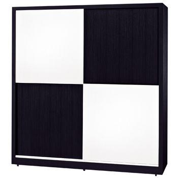 【時尚屋】[G15]黑白配6尺推門衣櫃035-5
