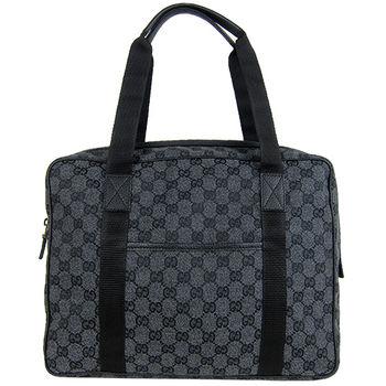 GUCCI 中性雙織帶旅行肩背/手提包(深灰藍)