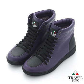 Travel Fox(女) SEXY-性感大膽 撞色高筒休閒鞋 - 低調紫