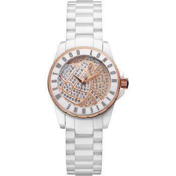 Vivienne Westwood Sloane Showpiece 星球引力晶鑽陶瓷腕錶 30mm 白色 玫瑰金色 / VV088SRSWH
