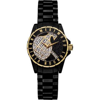 Vivienne Westwood Sloane Showpiece 星球引力晶鑽陶瓷腕錶 30mm 黑色 金色 / VV088SGDBK