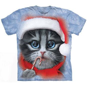 【摩達客】預購-美國進口The Mountain 大臉聖誕貓 T恤