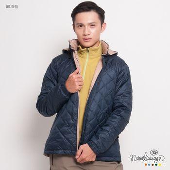 日本namelessage無名世代男款保暖雙面穿羽絨外套(深藍)_42M22