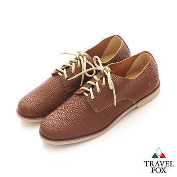 Travel Fox(男) SMART-智慧創意 時尚編織紋綁帶皮鞋 - 咖棕紋