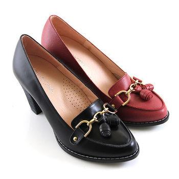 【GREEN PHOENIX 波兒德】雅致魅力金屬串鍊立體裝飾粗高跟鞋-黑色、紅色