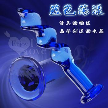 藍色蕩漾 - 深度螺旋水晶玻璃棒