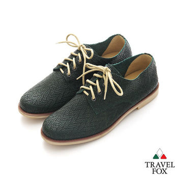 Travel Fox(男) SMART-智慧創意 時尚編織紋綁帶皮鞋 - 苔綠紋