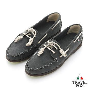 Travel Fox(男) STYLE-風格流行 三角楦經典反毛帆船鞋 - 白線灰