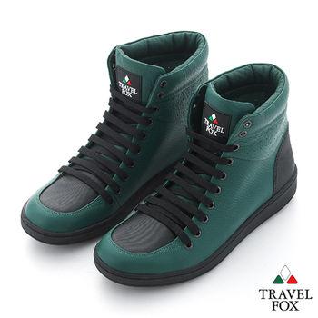 Travel Fox(男) SEXY-性感大膽 撞色高筒休閒鞋 - 森林綠