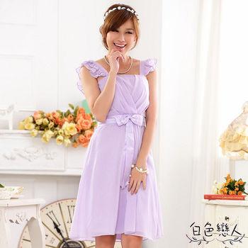【白色戀人中大尺碼】紫色荷葉袖方領禮服小洋裝