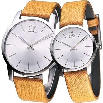 cK City 雅爵極簡品味風時尚對錶-橙黃K2G21138/K2G23120