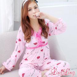 lingling日系全尺碼-甜蜜心型蕾絲棉質二件式睡衣組(愛戀粉)A1769-1