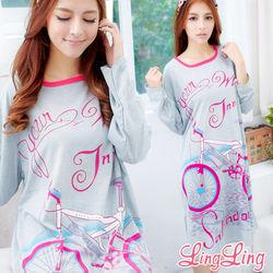 lingling日系大尺碼-腳踏車圖案T恤居家連身長袖睡衣(繽紛桃)A1518