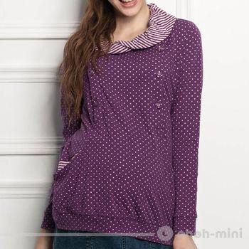 【ohoh-mini】可愛點點條紋翻領孕婦哺乳上衣