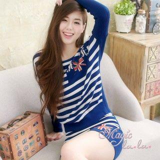 【魔法拉拉】旗幟條紋針織衫短裙套裝A426(亮麗藍)