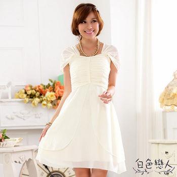 【白色戀人中大尺碼】香檳色包肩袖後綁帶宴會小禮服裙