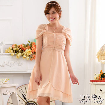 【白色戀人中大尺碼】粉色包肩袖後綁帶宴會小禮服裙