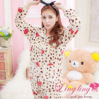 lingling日系 全尺碼-甜蜜點點乳牛水貂絨二件式睡衣組(甜感杏)A1802