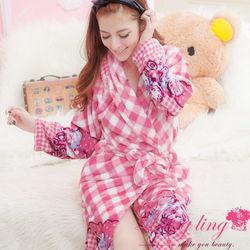 lingling日系全尺碼-南法菱格熊寶貝水貂絨睡袍(溫暖紅粉)A1804-1