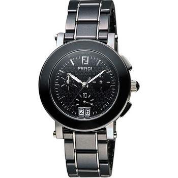 FENDI 陶瓷經典大視窗計時腕錶-黑 F661110