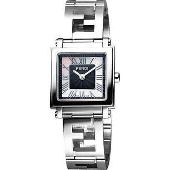 FENDI 羅馬古典雙F鍊帶鏤空腕錶-黑/25mm F605031000