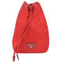 ~PRADA~1N0369 三角LOGO尼龍帆布束口萬用包 ^#47 化妝包 ^#40 紅