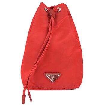 【PRADA】1N0369 經典三角LOGO尼龍帆布束口萬用包/化妝包(紅)