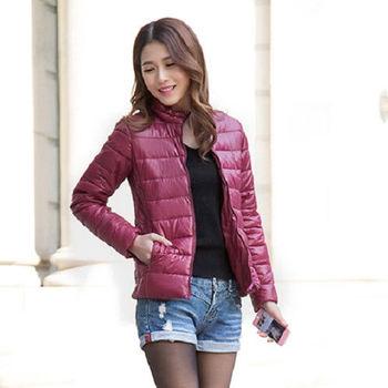 【Moscova】新款韓版輕薄修身立領百搭短款羽絨棉衣外套-暗紅