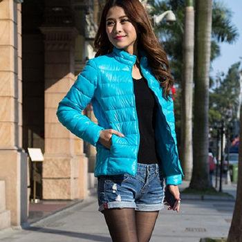 【Moscova】新款韓版輕薄修身立領百搭短款羽絨棉衣外套-水藍