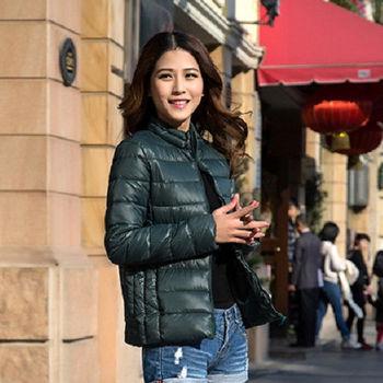 【Moscova】新款韓版輕薄修身立領百搭短款羽絨棉衣外套-墨綠